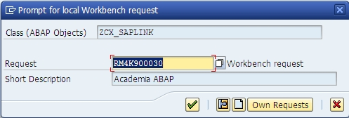 SAPLink Install - Object Creation - Request