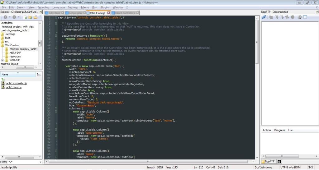 Notepad++ para trabalhar com SAPUI5